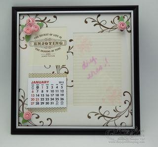 Calendar dry erase frame